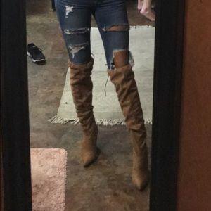 Medium tan thigh high boots